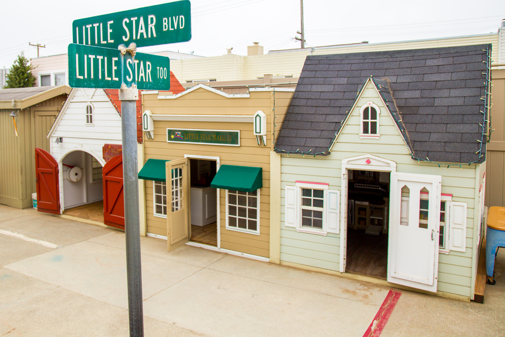 "Little Star Preschool ""Too"" is our second location, located at 1105 Quintara Street. Pictured here are our three outdoor dramatic play areas - great for a quieter moment with a few friends or to keep warm on a foggy San Francisco day."