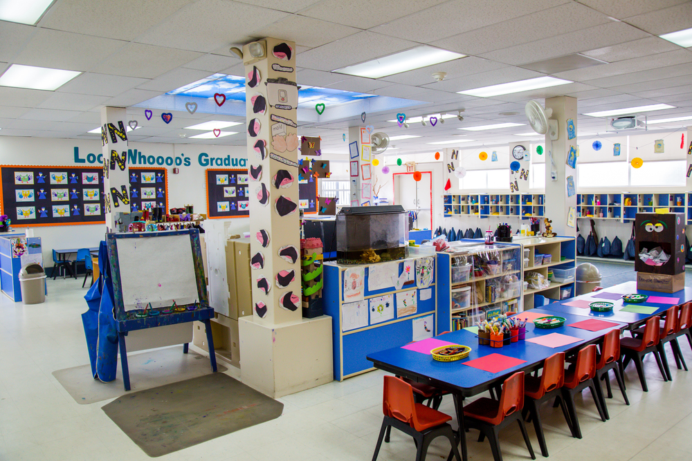 The Sunflower Room - the larger of our two classrooms - set up for an art project.