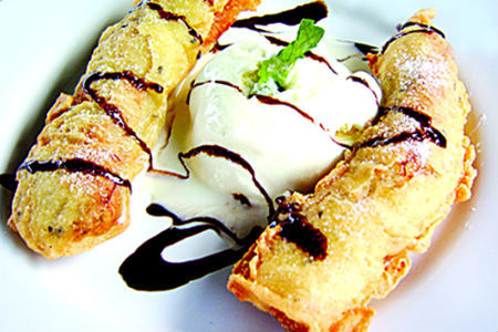 Deep Fried Banana with Vanilla Ice Cream