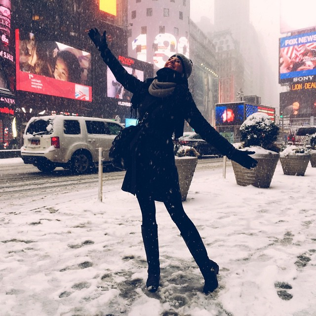 When she sees snow she be like…