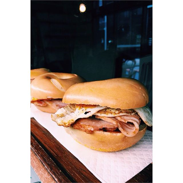 Celebrate hump day with a bacon & egg bagel! #breakfast #yum #humpday #melbourne #cafe #coffee #cbd #lonsdalestreet #baconandegg #bagel