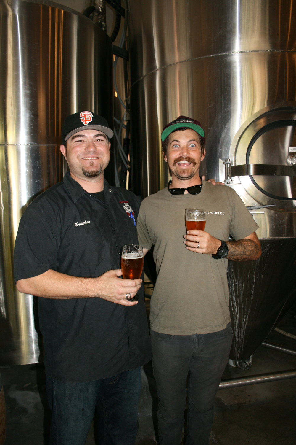 WHAT COMPETITION? Central Coast Brewing Co. Head Brewer Brendan Gough cozies up to his buddy Tyler Clark of Libertine Brewing Co.
