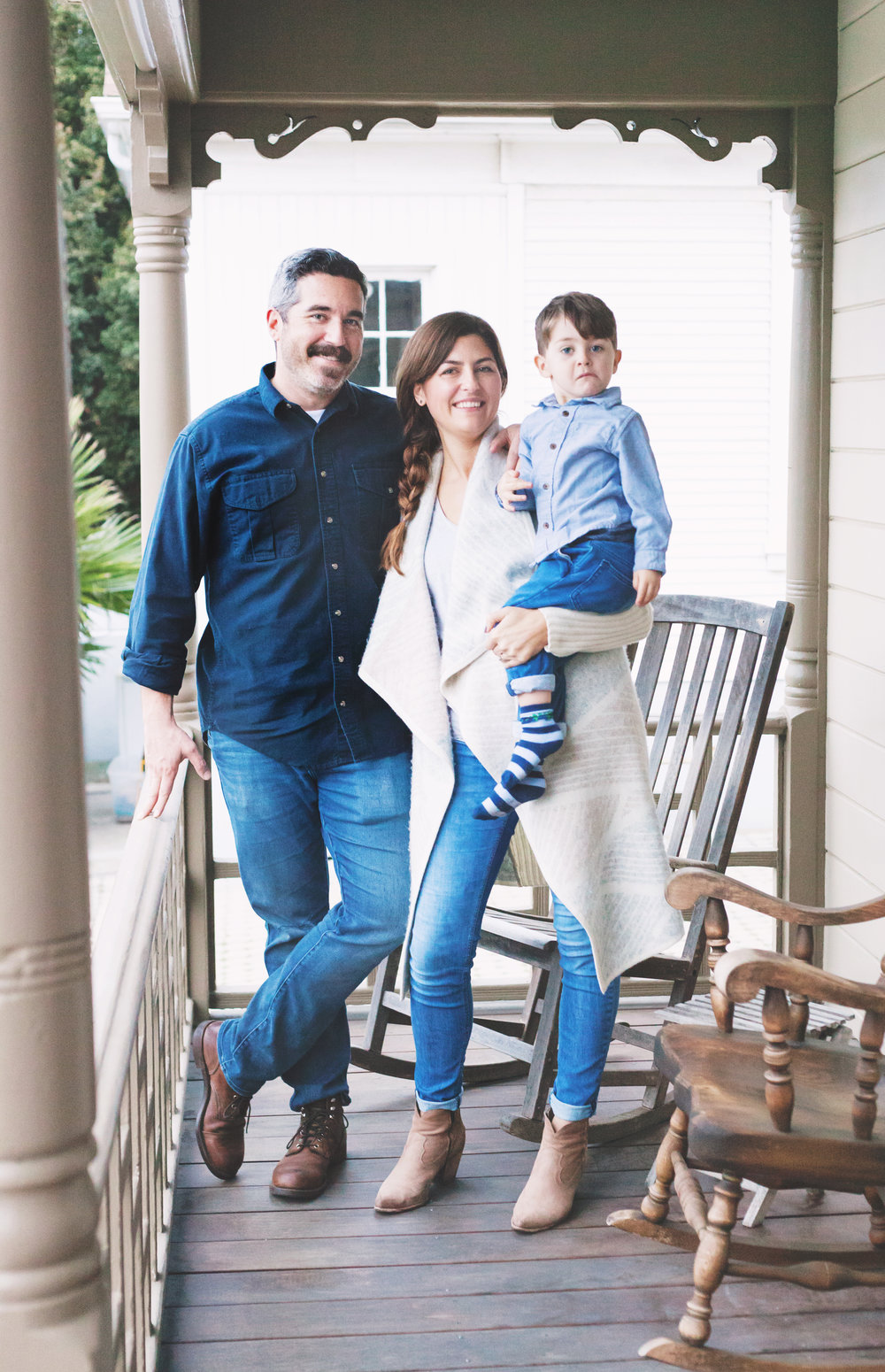 MEET THE HERD    Larder Meat Co. Owners Jensen and Grace Lorenzen with their 3-year-old son, August. The San Luis Obispo couple is on a mission to bring local meats—chicken, beef, and pork—to your doorstep every month with two sizes of Larder Meat Co. boxes to choose from.    PHOTO COURTESY OF JEN OLSON