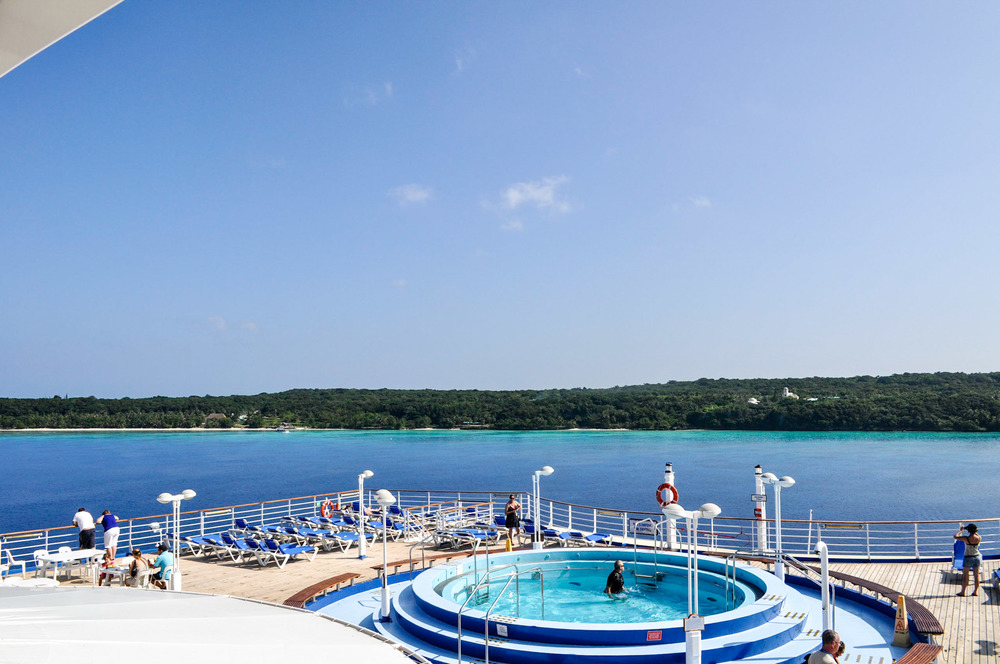 The back of the boat, looking out onto beautiful Lifou, New Caledonia.
