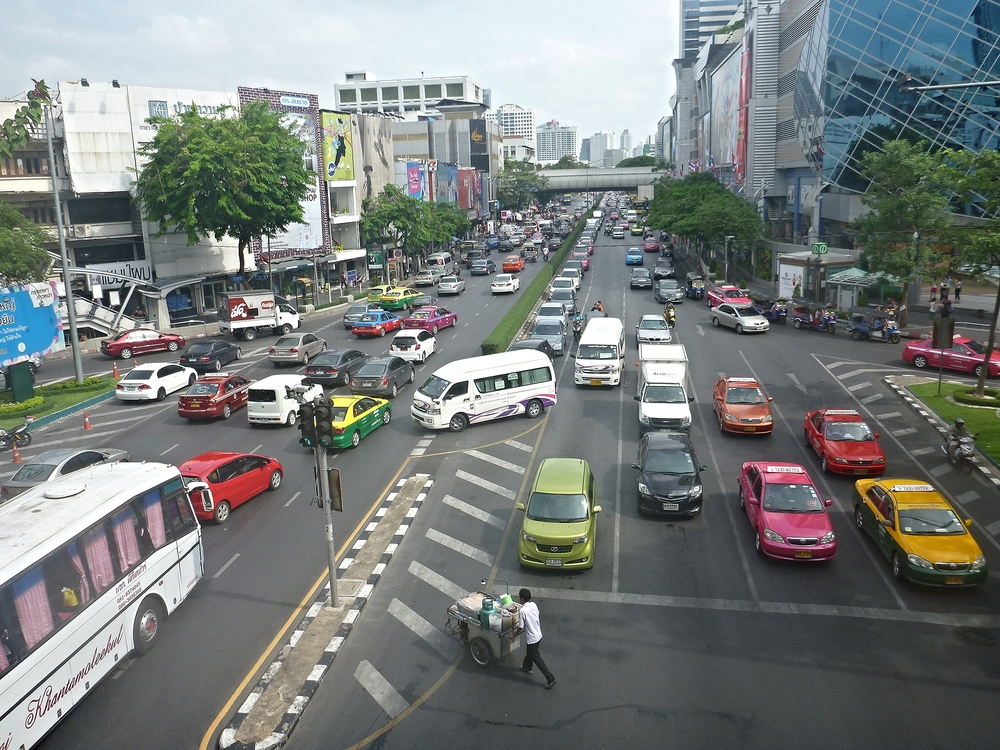 Traffic in Bangkok, Thailand. Almost died in a tuk-tuk here but it sure was an adventure.