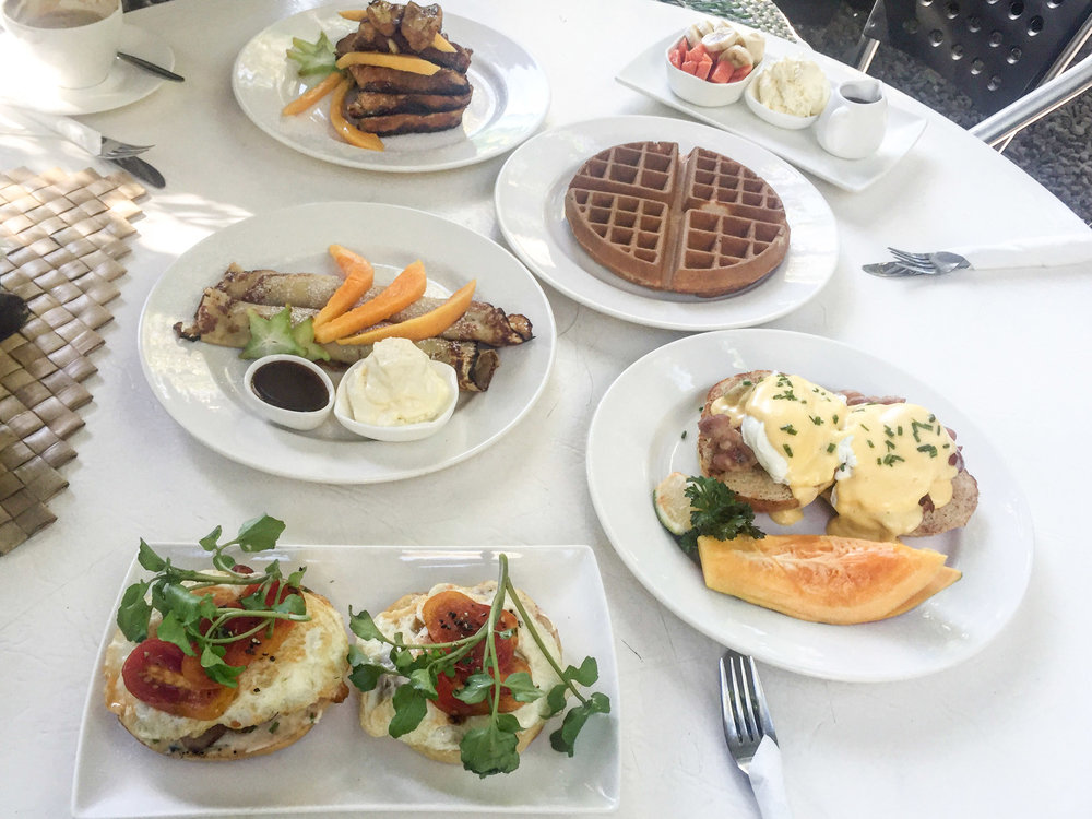 Bagels, waffles, eggs benedict, crepes and french toast galore.
