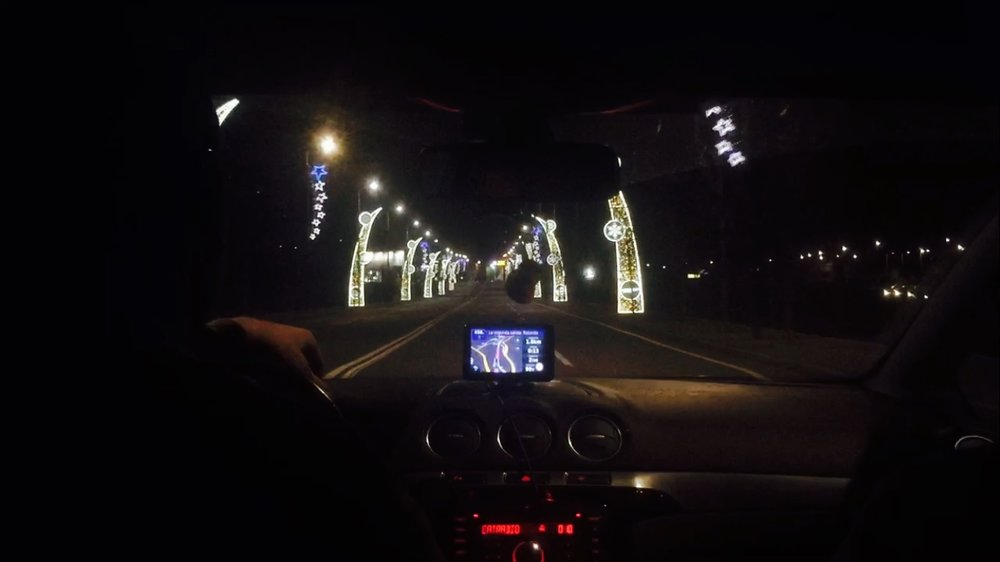 Driving through the christmas lights of Andorra on our way to El Tarter.