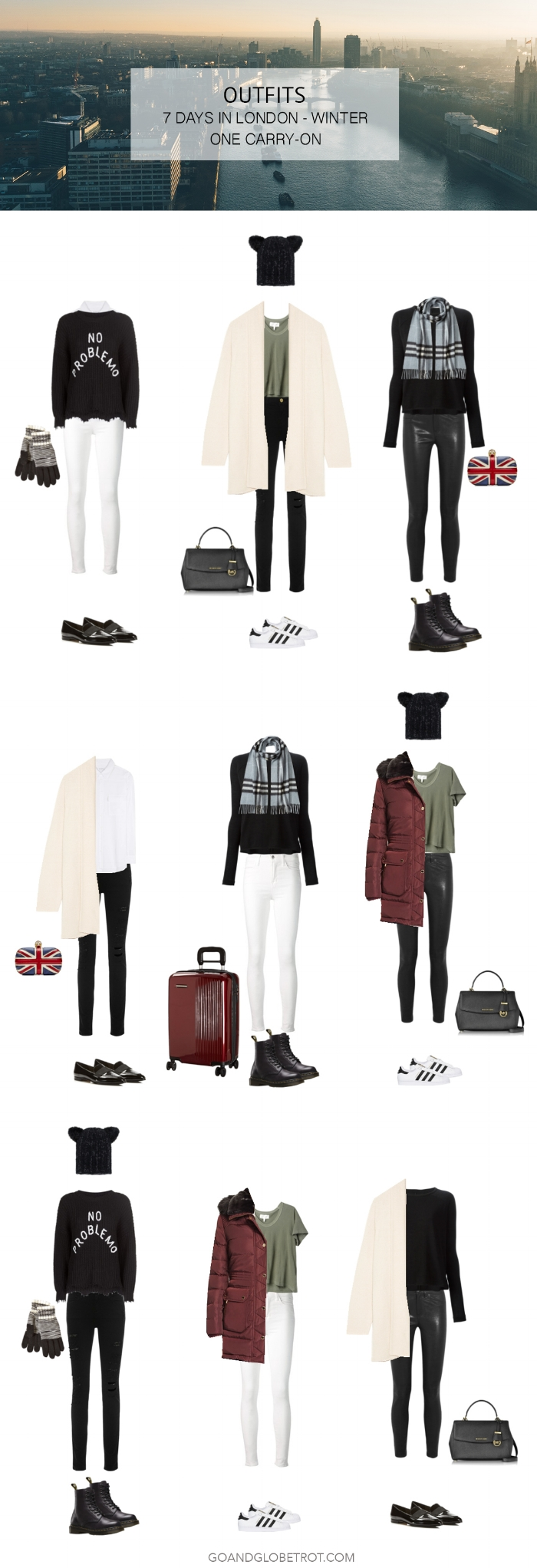 Outfits: 1 Carry On - 7 Days in London (Winter Capsule) | goandglobetrot.com