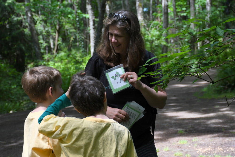 Holly Roger with two students at Larrabee State Park