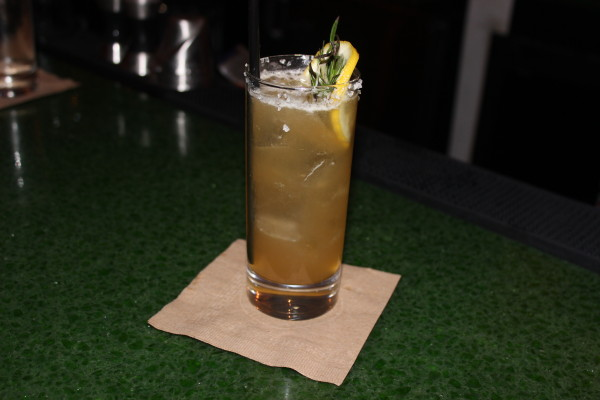 """Maple Dew Marinus Sour"" – Rosemary infused makers mark, lemon, maple syrup and smoked sea salt"