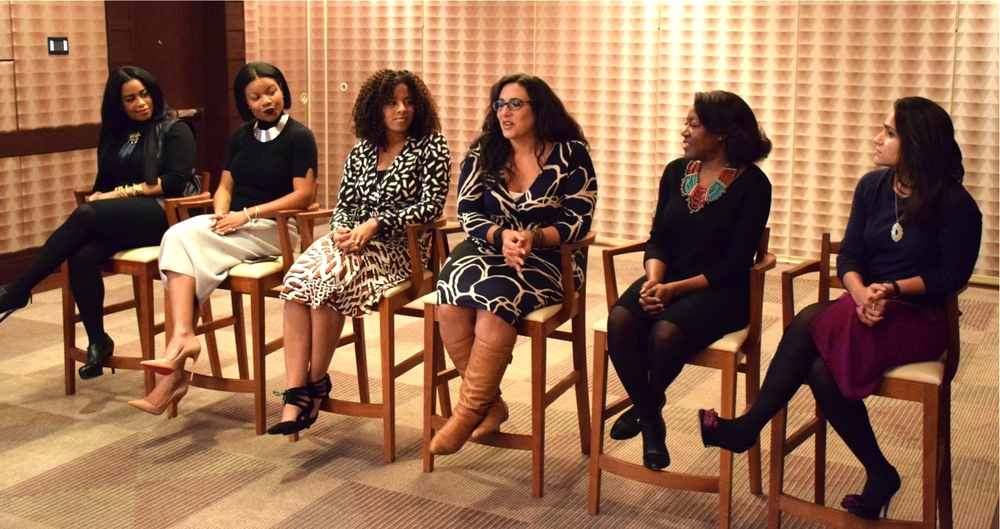 Women of Color Travel Panel: Me, Metanoya Webb, Bethany Manimbo, Talia Salem, Robin Bennefield, and Tanvi Rastogi