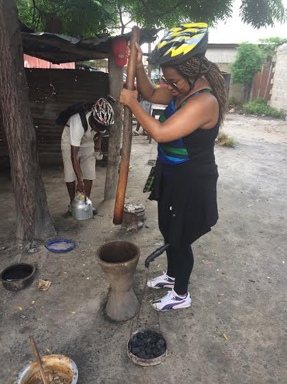 Grinding coffee in Tanzania