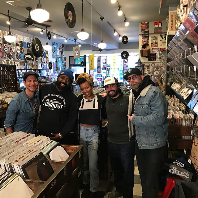 Thanks to @jamilawoods, @kevincoval, and the whole @reverblp team for a great video shoot/interview today at @gramaphonerecords. We can't wait for you to see the clips of them crate digging and talking about records that have influenced their careers. They also talk about why they wanted to do this project with Vinyl For A Cause and what this new release means to them. VFAC 004 featuring Kevin, Jamila, and TASHA is available for preorder from our web-store and will also be available through Reverb LP very soon! Proceeds benefiting @youngchicagoauthors! Get your copy pre-ordered today! Link in bio!  #ChicagoProud #ChicagoMusic #Chicago #PromotingGood #VinylForACause #VFAC004 #YCA #YoungChicagoAuthors #JamilaWoods #KevinCoval #WowTashaWow #Tasha #GramaphoneRecords #Muddy #SnowDay #PaulBranton #KeepSpinning #LimitedEdition #Reverb #ReverbLP @wowtashawow