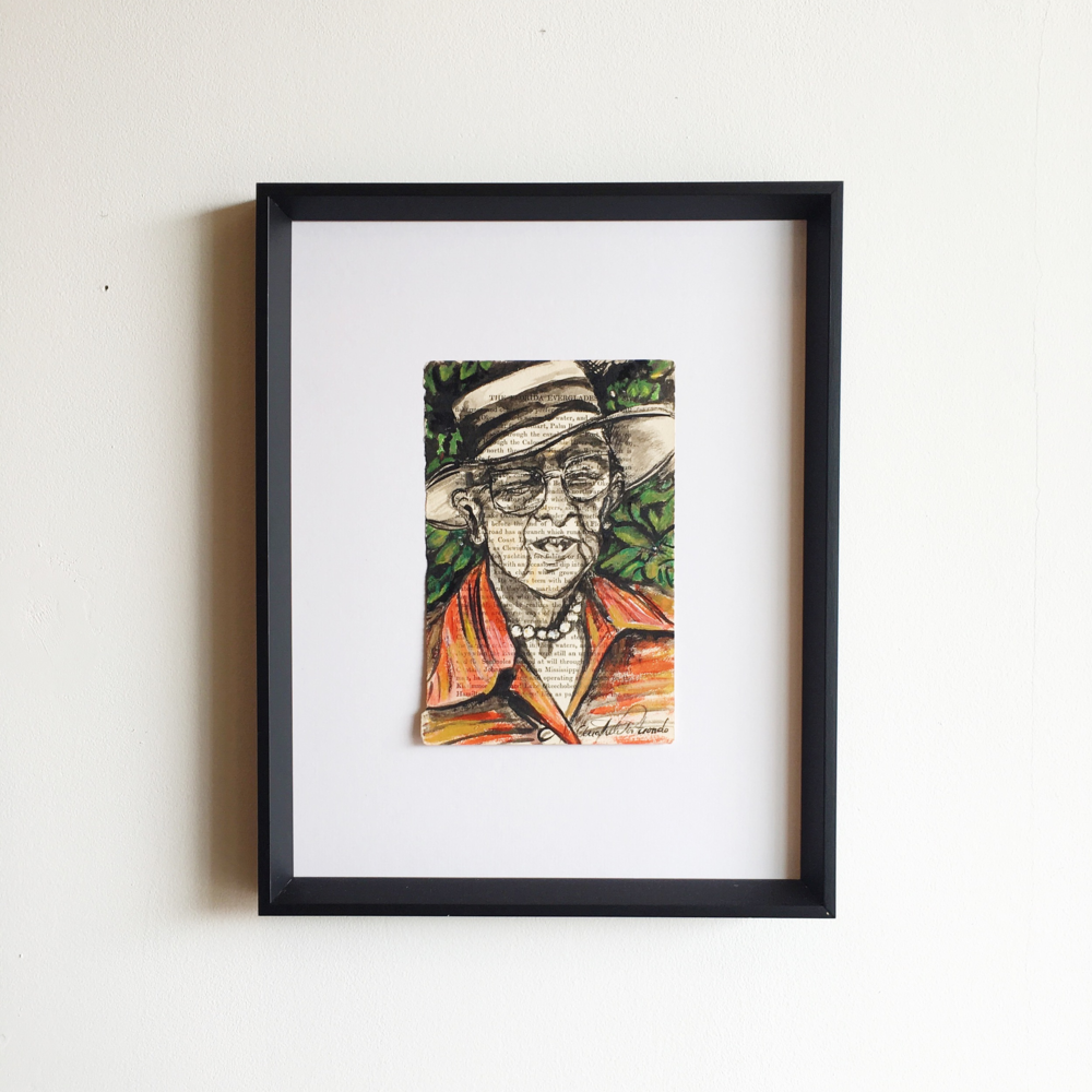 "Marjory Stoneman Douglas was an American journalist, writer, feminist, and environmentalist known for her staunch defense of the Everglades against efforts to drain it and reclaim land for development. Painted by: Ana Trelles Portuondo, Acrylic on Paper, 4"" x 6"", $200"