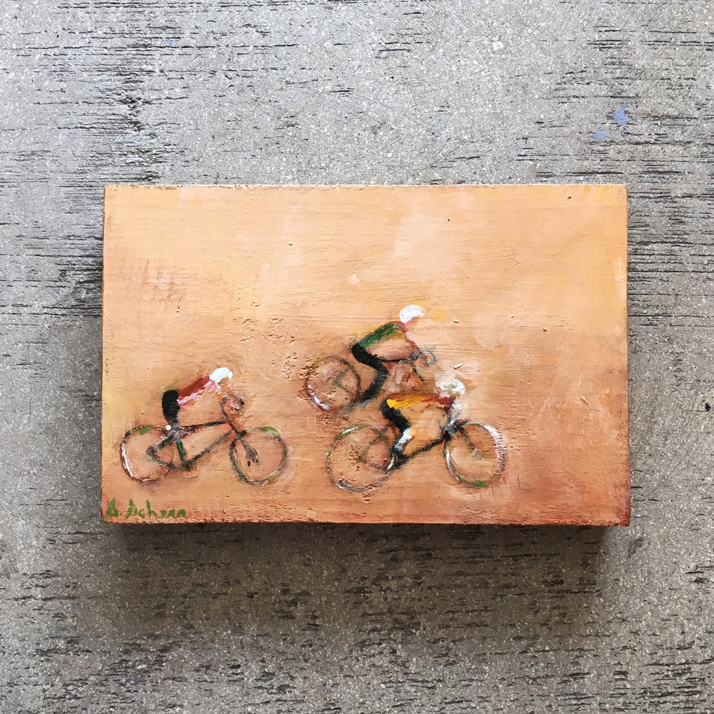 For the Dad who loves to cycle, this is the gift for him! He can hang this one-of-a-kind work of art in his office, place it on a shelf and daydream as he relives his glory days of good old friendly competition! (Painting by Silvy Scherr on recycled wood, $185.00)