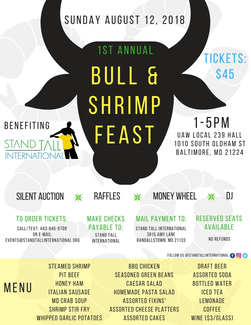 First annual: Bull & Shrimp Feast benefiting Stand Tall International flyer