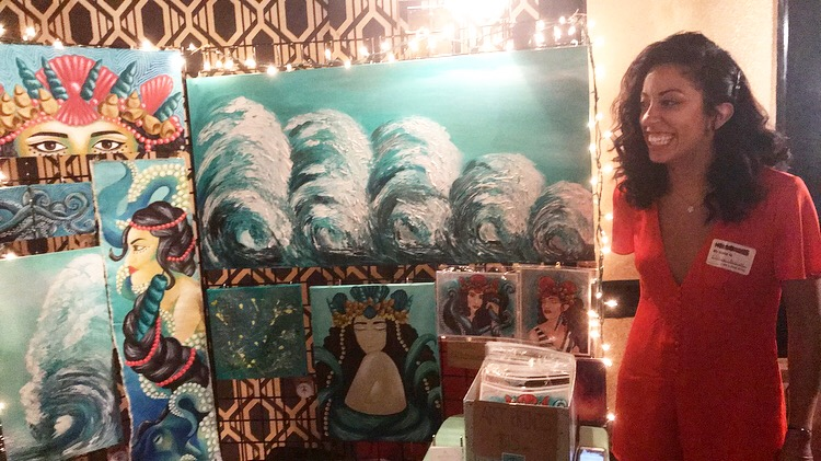 Raw Artists Brooklyn - Me with the pieces I sold at the showcase.