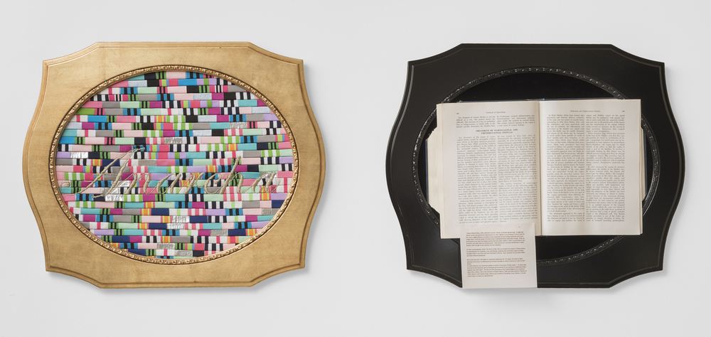 ANARCHA, 2014, grosgrain ribbon, metallic embroidery floss, vintage obstetrics textbook, and velvet, 40 x 20 inches