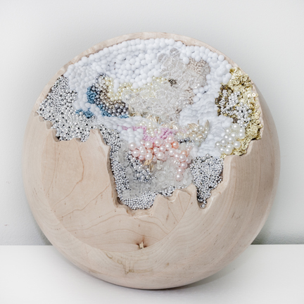 SAGAN DRUYAN 1, 2012, solid maple sphere carved and embedded with hand embroidered beads, pearls, sequins, and poms, 12 x 12 inches