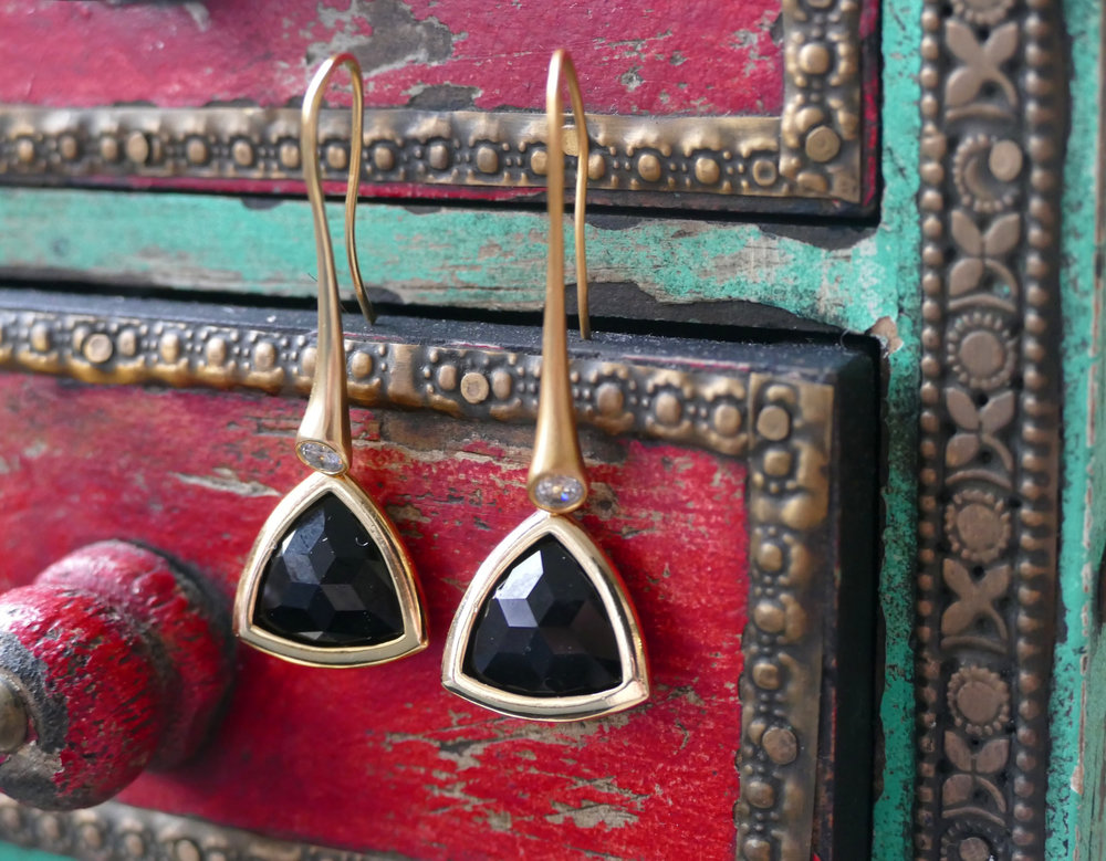 Gold Plated Black Glass Earrings