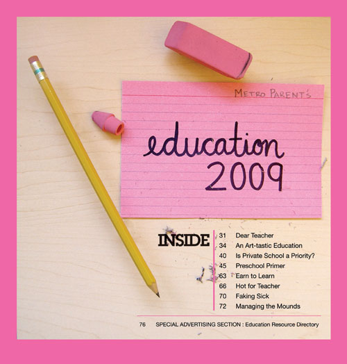 Cover from Metro Parent's Education Guide 2009. Design and photo by me.
