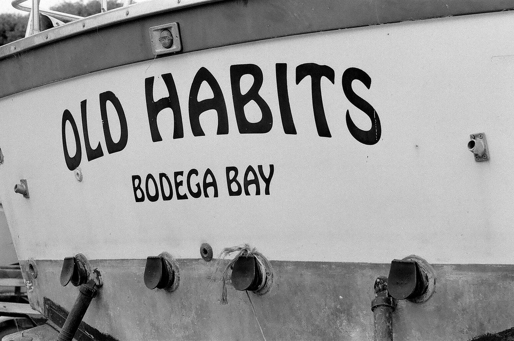 Fishing boat storage yard, Bodega Bay. Nikon F2A, 85mm f/1.4 Nikkor