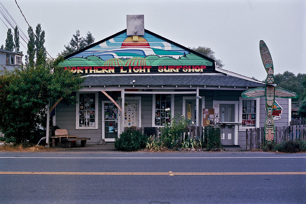 Surf Shop, Bodega, CA  Olympus OM2n, 50mm f/1.4 Zuiko on Kodak Portra 400