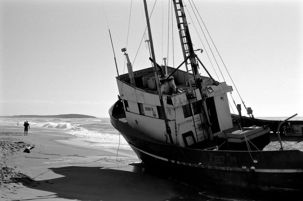 Beached Fishing Boat, Salmon Creek, Sonoma Coast