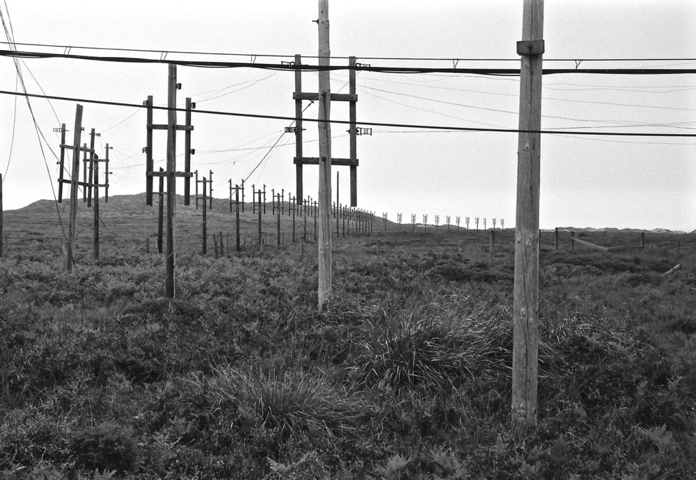 Feed lines out to the HF antennas at the receive site.