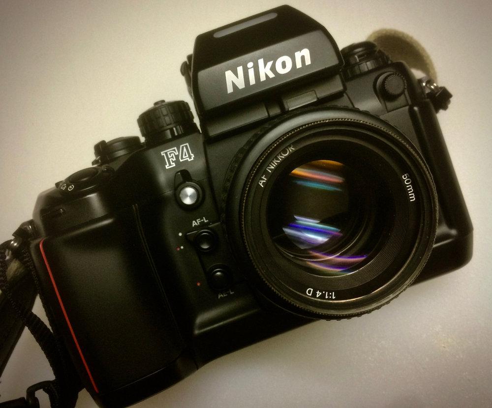Nikon F4 with MB-20 grip and 50/1.4 AF-D lens