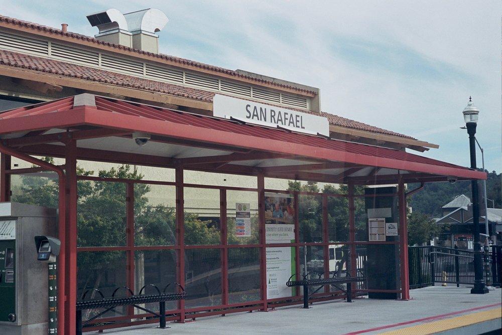 The station in San Rafael through the train window