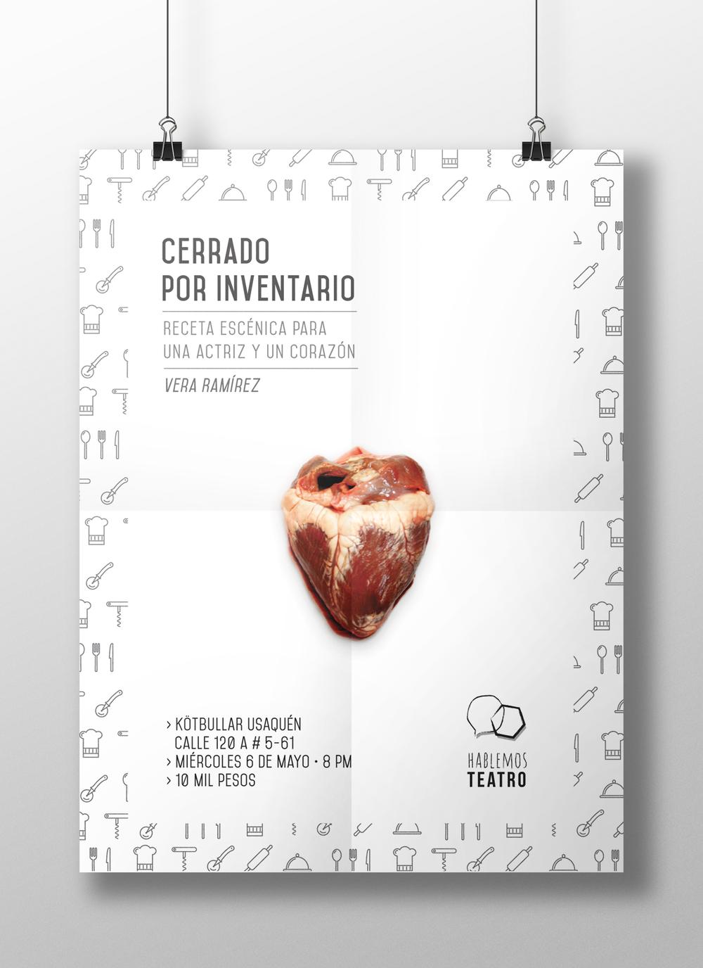 "Poster for the play ""Cerrado por inventario""/ Poster para la obra ""Cerrado por inventario"""