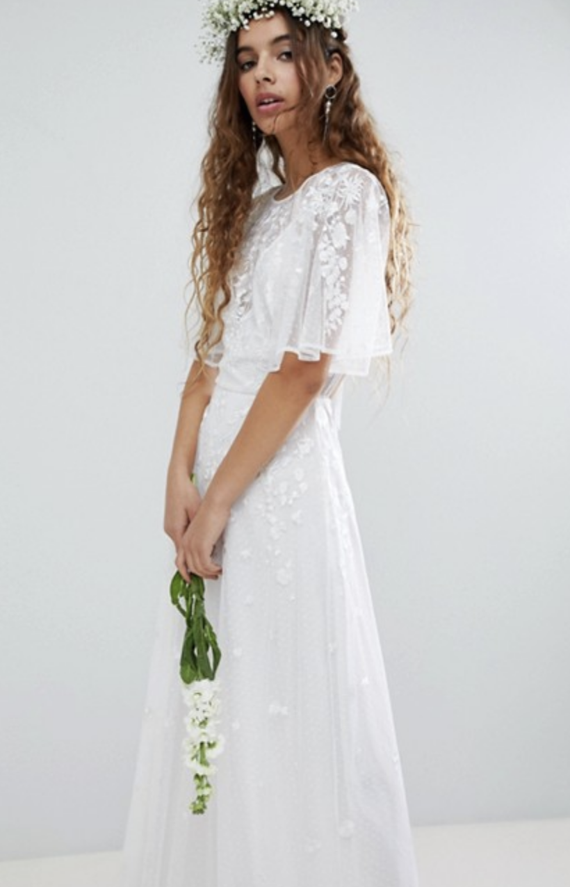 Embroidered Flutter Sleeve Maxi Dress - $151