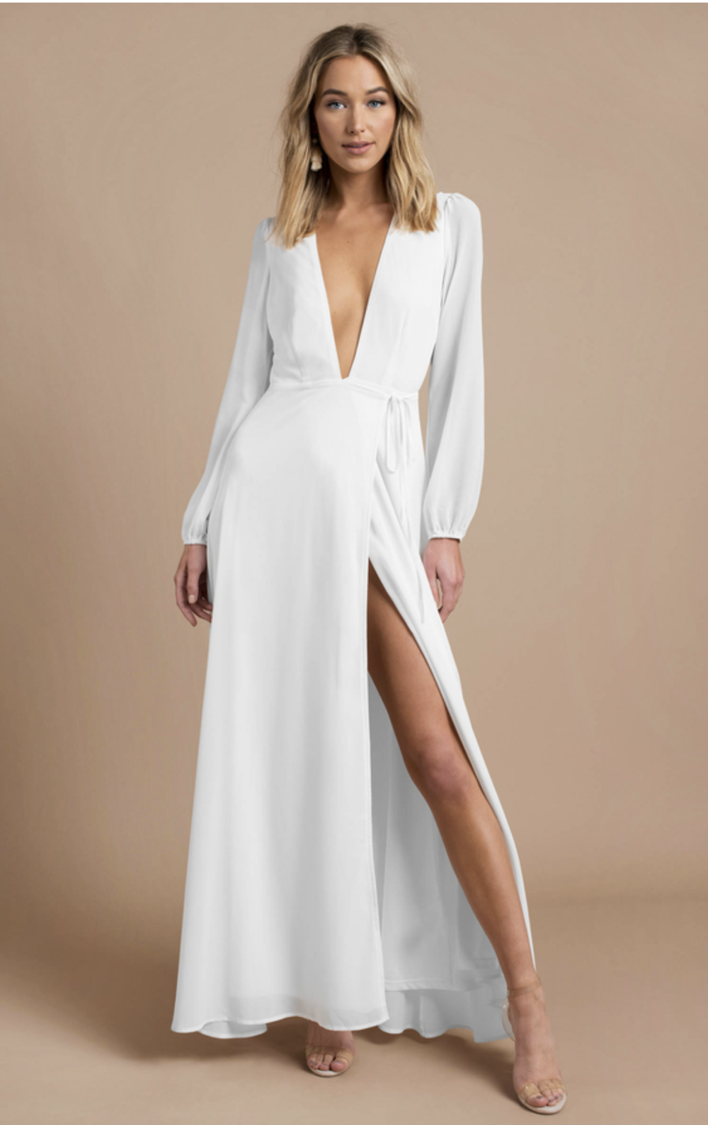 Cherish Me Ivory Plunging Maxi Dress - $46