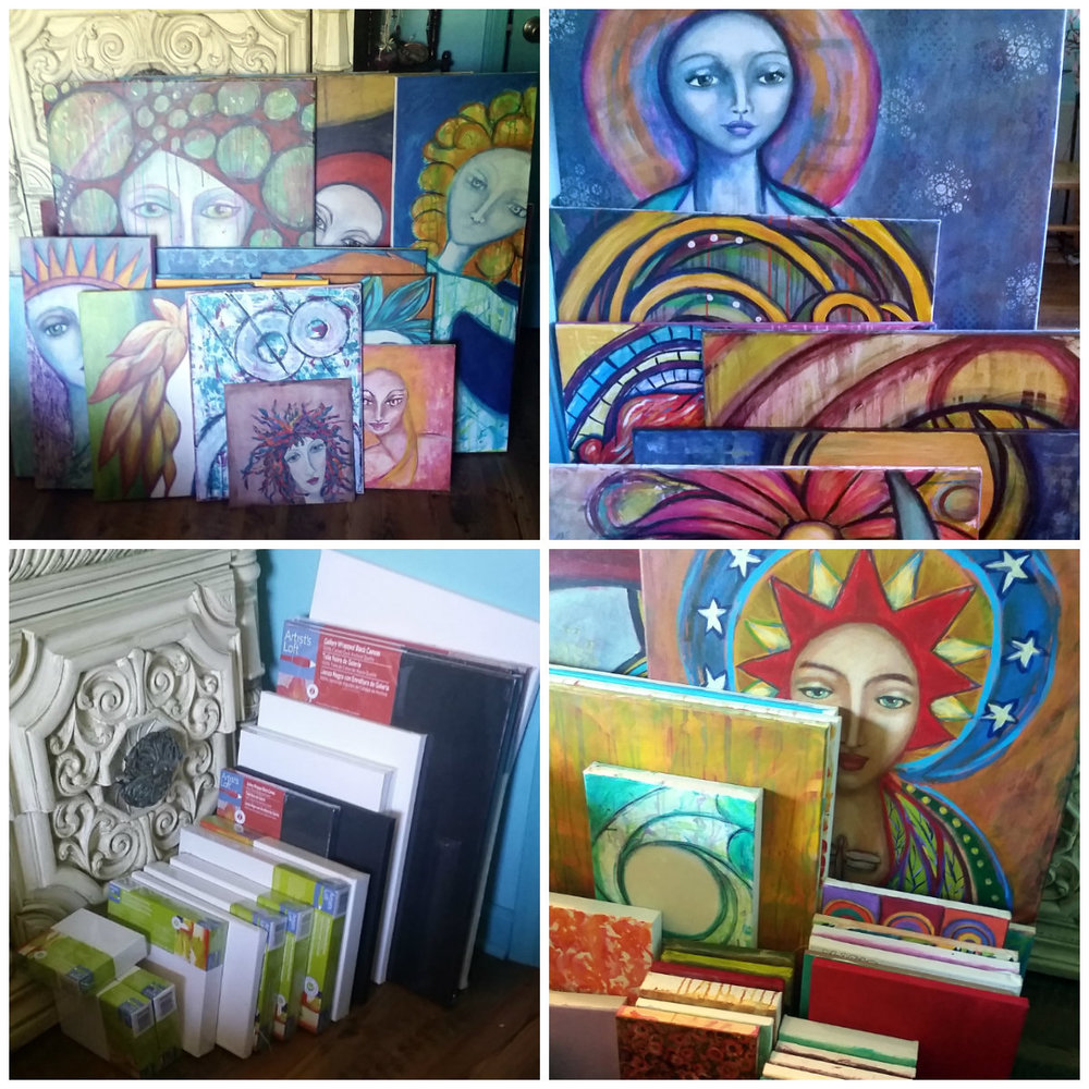 top left, unfinished work:  top right, finished work needing photographed for digital images:  bottom left, blank canvases, mostly small and smaller. Not my favorite: bottom right: canvases to repurpose