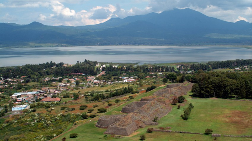 View of Tzintzuntzan, Lake Patzcuaro, and the surrounding volcanoes of the Michoacán–Guanajuato volcanic field (http://michoacan.travel/en/).