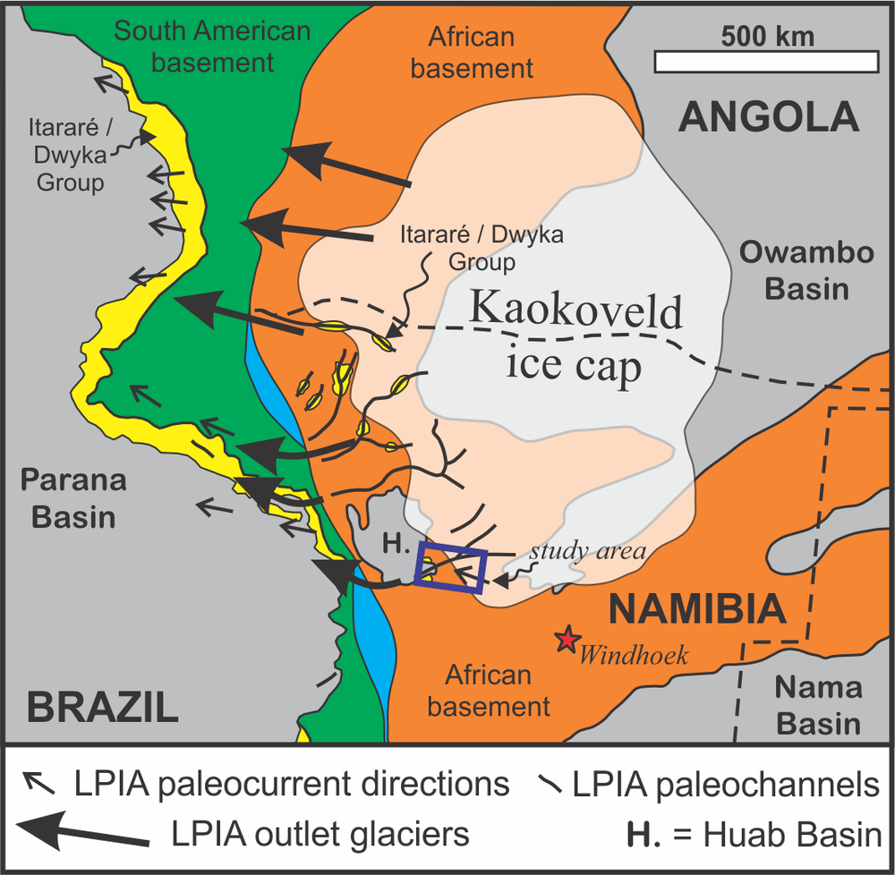 IN REVIEW: Conceptual reconstruction of the Namibian ice sheet in the Late Carboniferous and how it fed ice streams flowing into the Parana Basin of Brazil (adapted from Fallgatter & Paim, 2018).