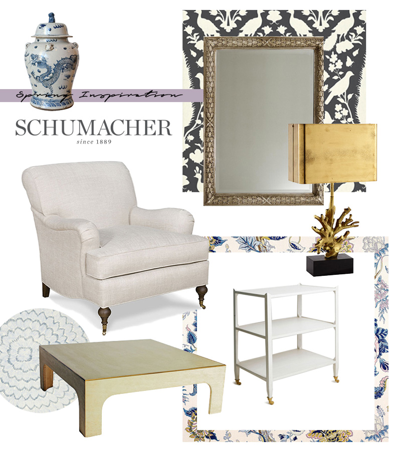 Pair of Porcelain Urns - 19th Century, Chenonceau Wallpaper, Alexander Mirror, Mid-Century Table Lamp, Cambridge Chair, Indian Arbre Fabric, Albert Etagere Table, Vintage Willy Rizzo Table, and Feather Bloom Wallpaper all from F. Schumacher.