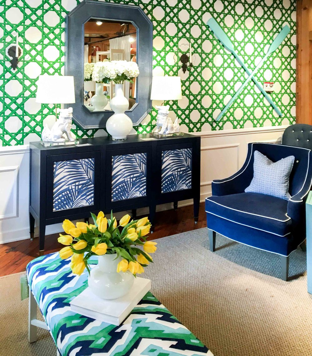 Great use of pattern and color and mixing from  Thibaut . Love not being afraid to use color.
