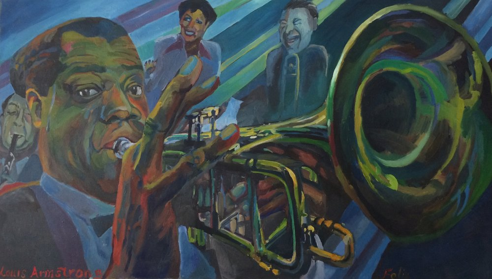 Louis Armstrong Band  28x48 oil on canvas