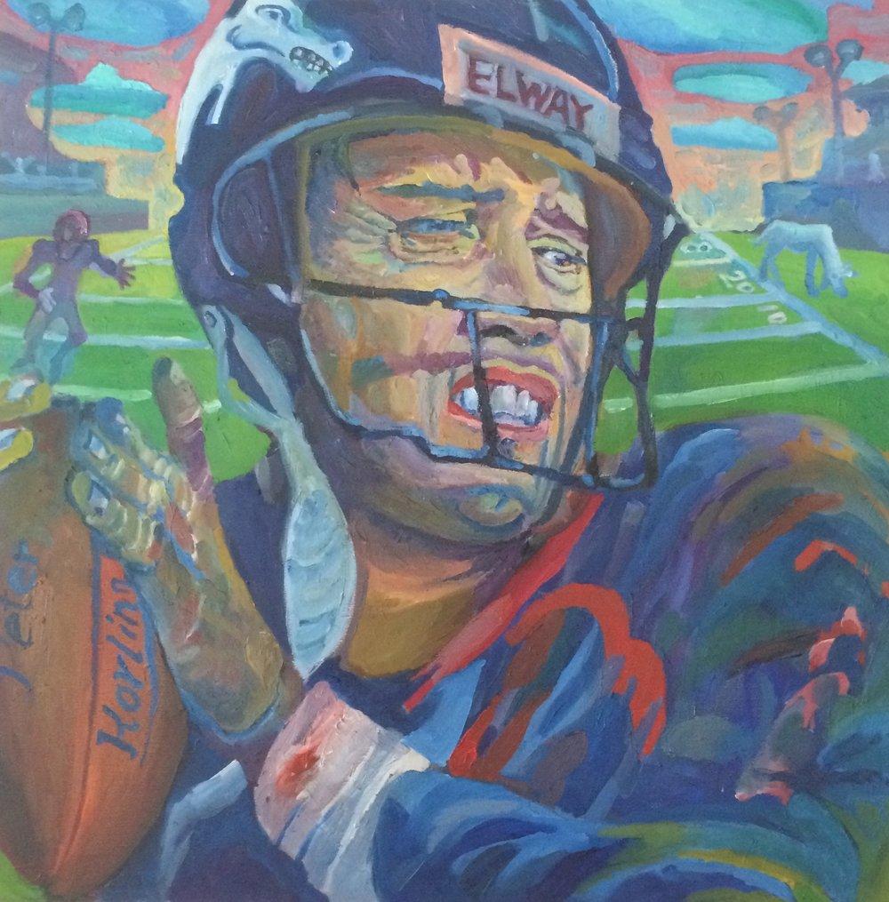 John Elway  24x24 oil on canvas