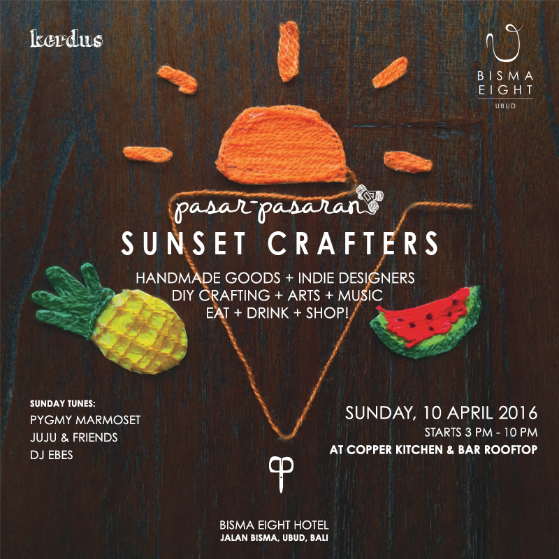 Exhibition by: AKU (Asosiasi Kreatif Ubud) – Sunday tunes by: Pygmy Marmoset, Juju & Friends and DJ Ebes Rasyid – Supported by MAVE Magz + Masbrooo Magazine
