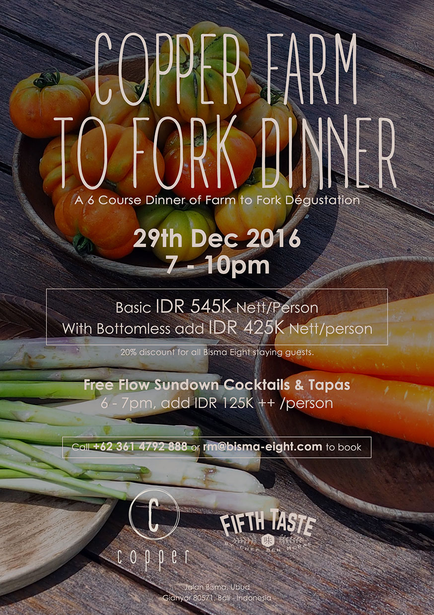 Copper Farm to Fork Dinner – December 29 2016 from 7 PM until finish