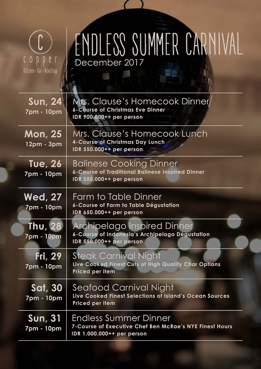 Copper Kitchen & Bar - December 24th - 31st 2017
