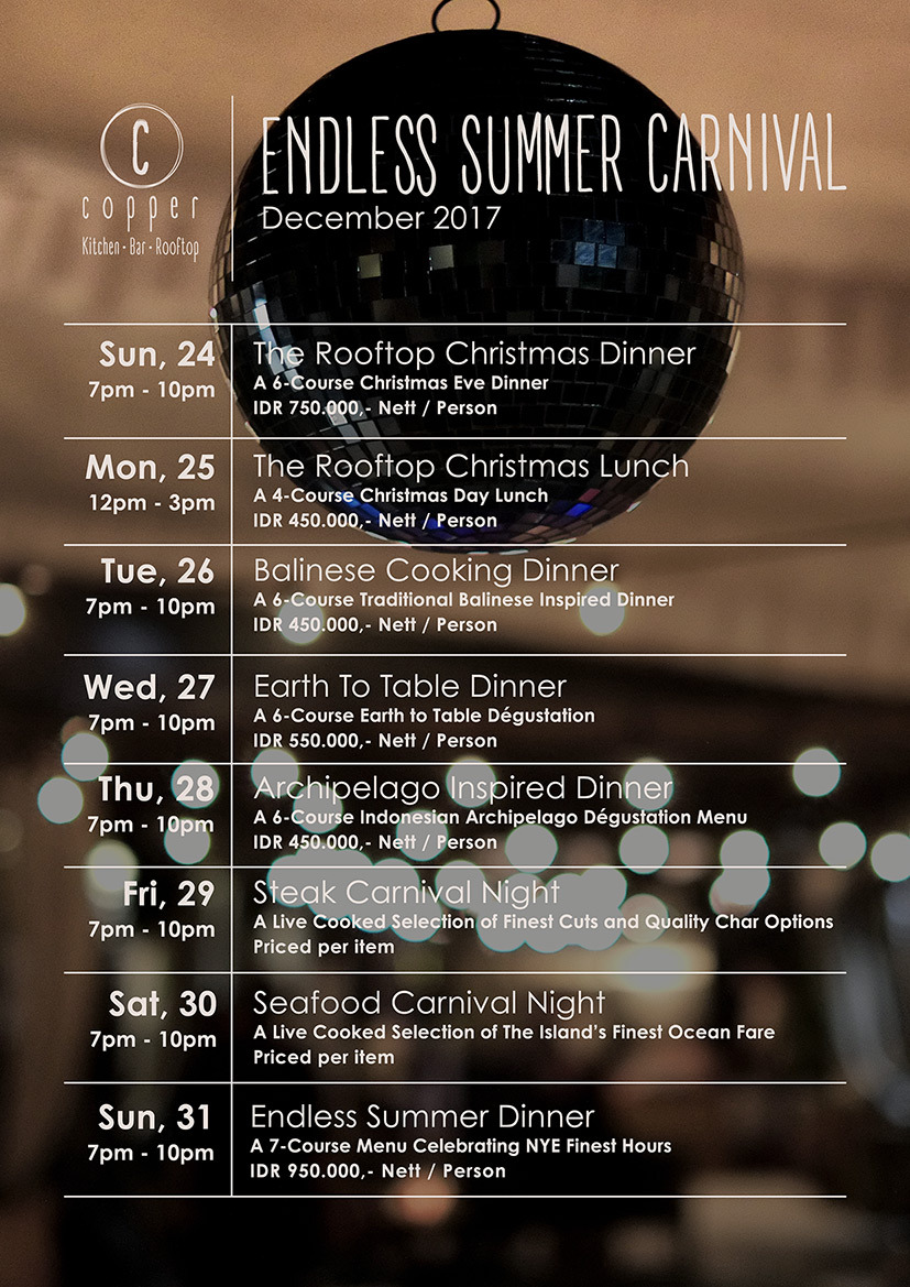 Copper Kitchen & Bar - December 24th - 31st 2017Book a table before Dec 23rd and save 15% off
