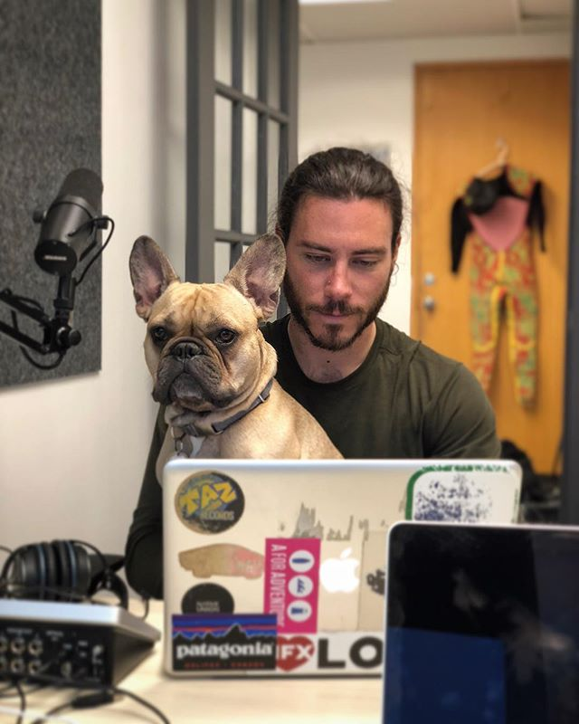 Co-producer Loki reviews wav files before sending them off to @sp00nfed so he can cut @jeremiesaunders' annoying coughs out of this weeks episode. #teamworkmakesthedreamwork