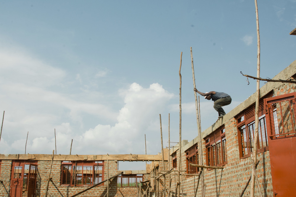 A worker on the construction site of the new Lutheran seminary near Jinja.