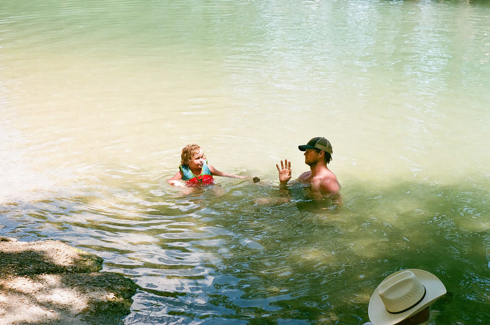 Jacob and Morgan in the river