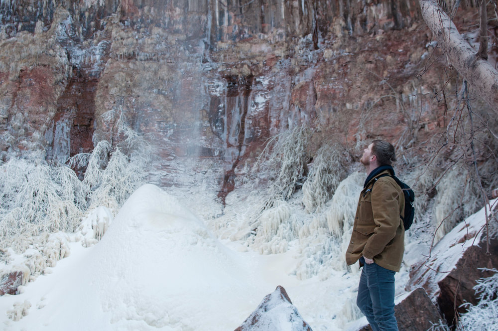 A semi-frozen waterfall in Zion
