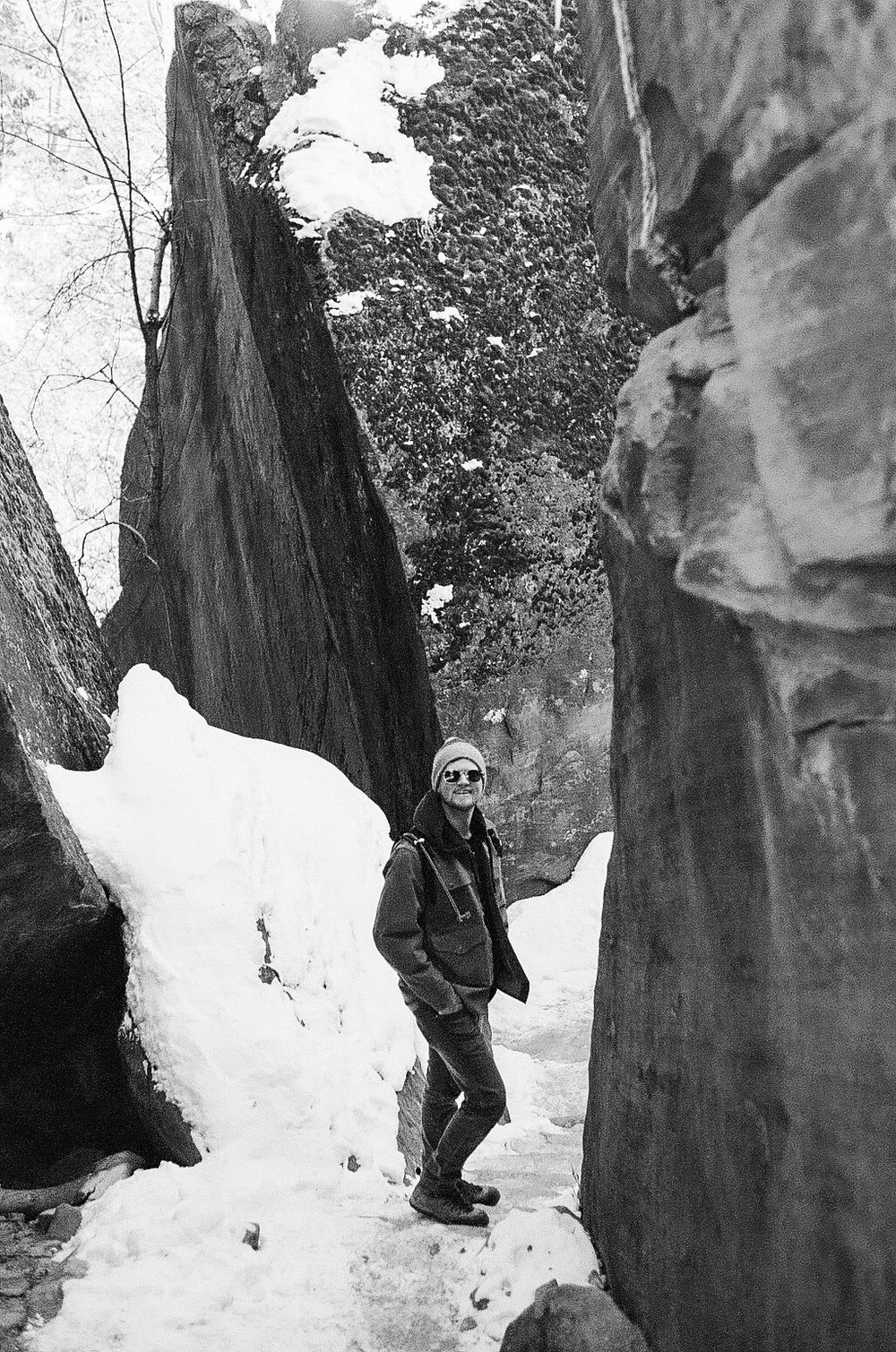 The trails in Zion are slick with ice and snow, but we brave them, Jacob my trusty scout.
